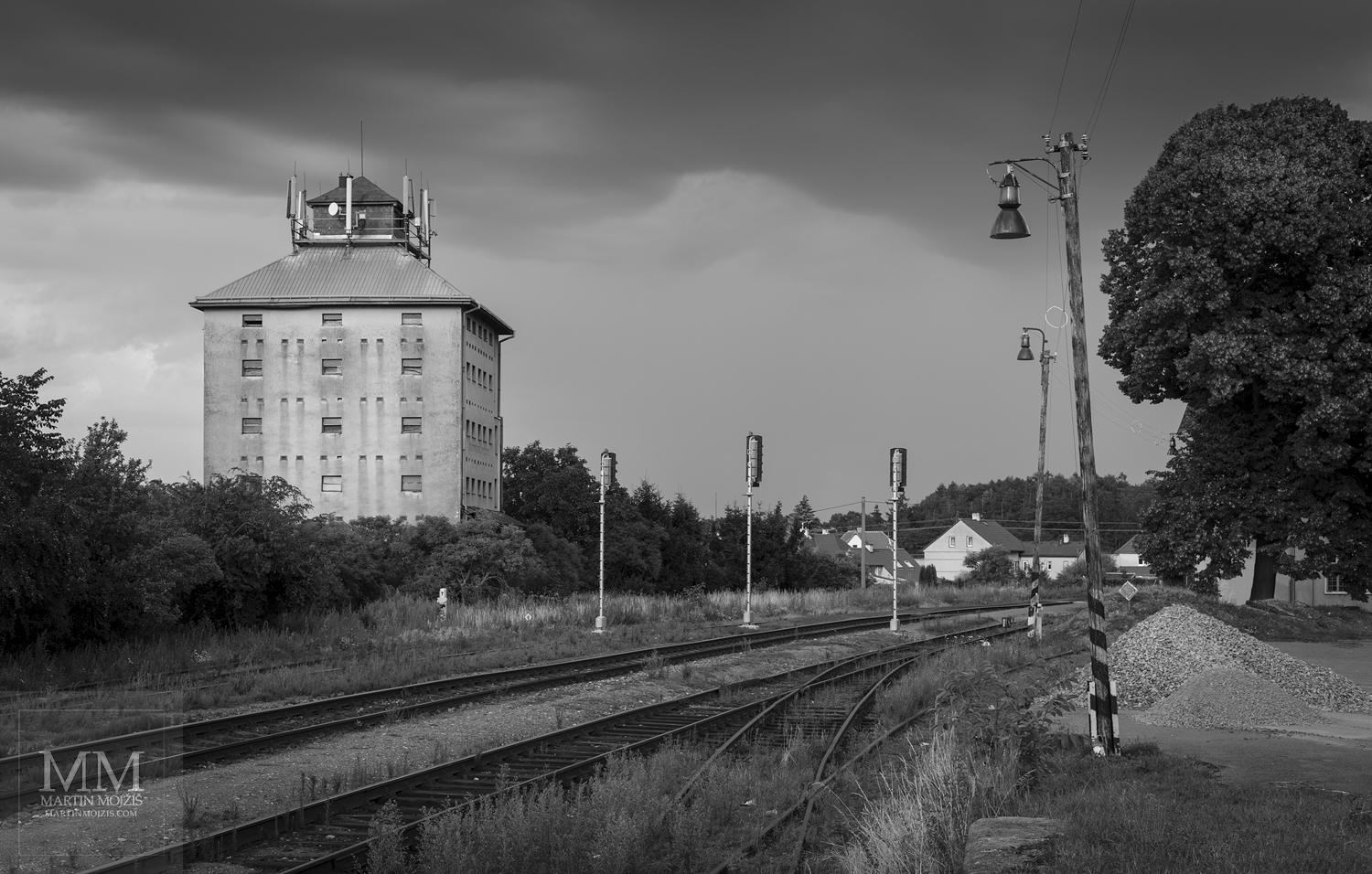 Large format, fine art black and white photograph of railway (railroad) station. Martin Mojzis.