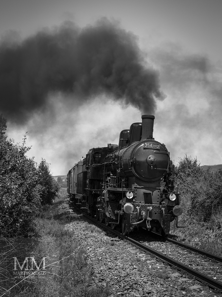 Large format, fine art black and white photograph of steam locomotive. Martin Mojzis.