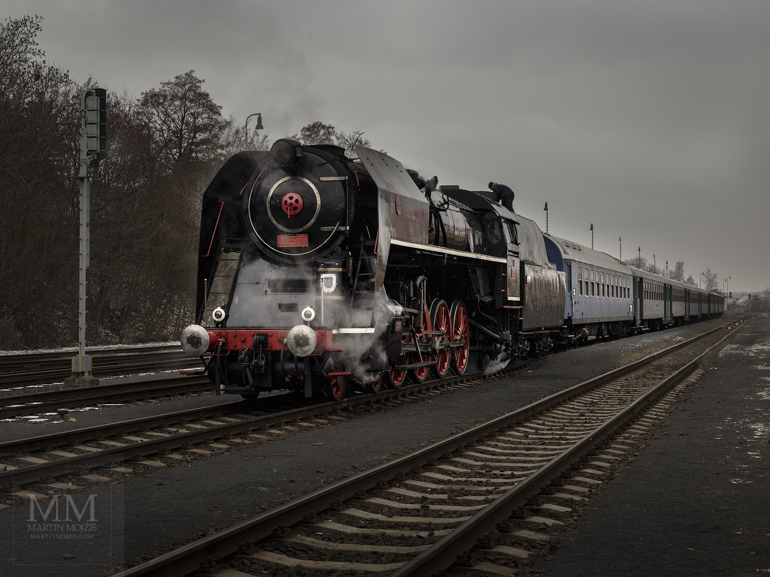 Large format, fine art photograph of steam locomotive Noblewoman in head of historic passenger train. Martin Mojzis.