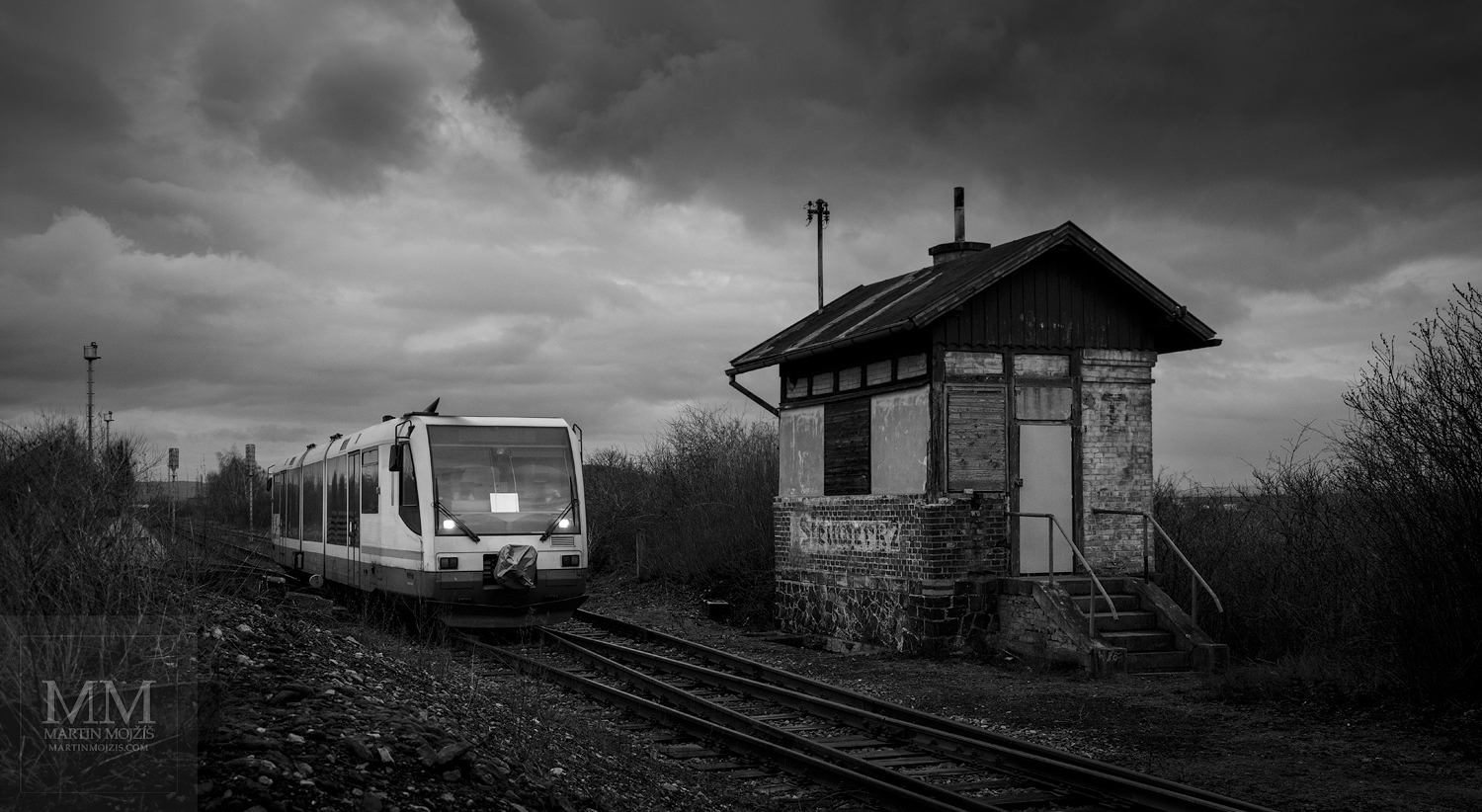 Fine Art large format black and white photograph of the engine train. Martin Mojzis.