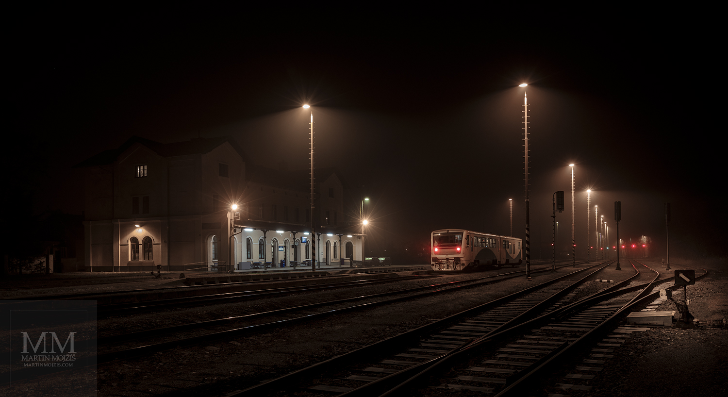 Fine Art large format photograph of the foggy evening railway station. Martin Mojzis.