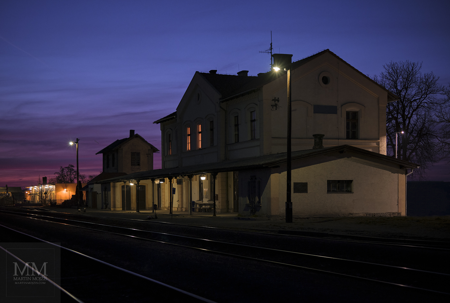 Fine Art photograph of the early evening railway station. Martin Mojzis.