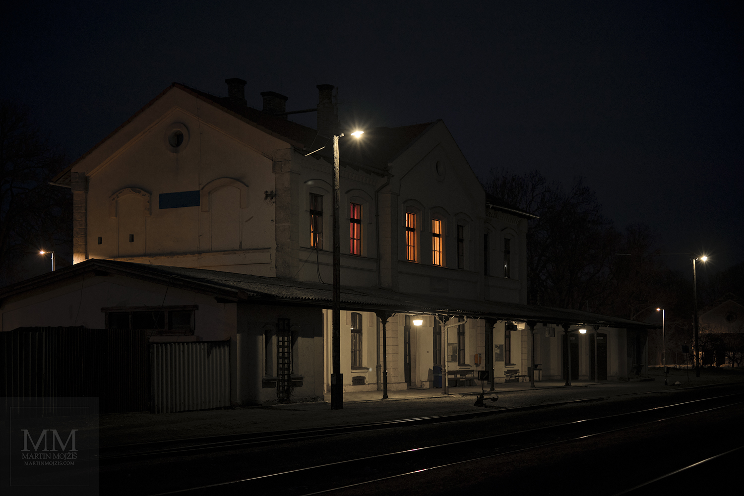 Fine Art photograph of the evening railway station. Martin Mojzis.