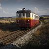 Large format, fine art photograph of red and yellow engine train. Martin Mojzis.
