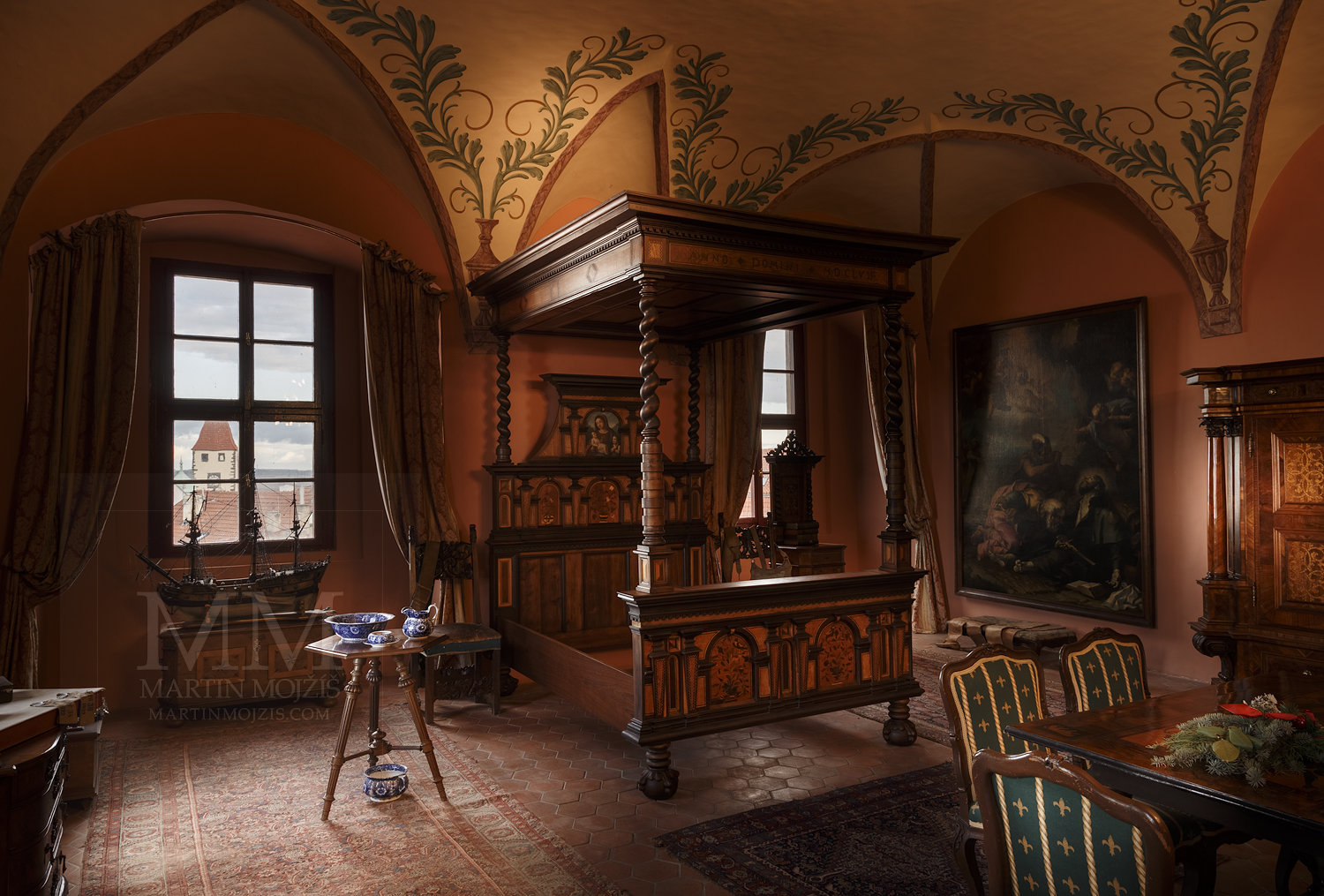 Chateau Melnik – large bedroom of Jiri Kristian. Professional photography of architecture - interiors.